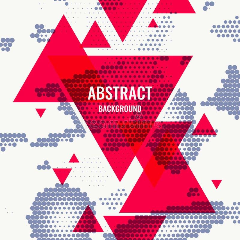 Monochromatyczny drukowy raster, abstrakcjonistyczny wektorowy halftone tło z czerwonymi trójbokami ilustracja wektor