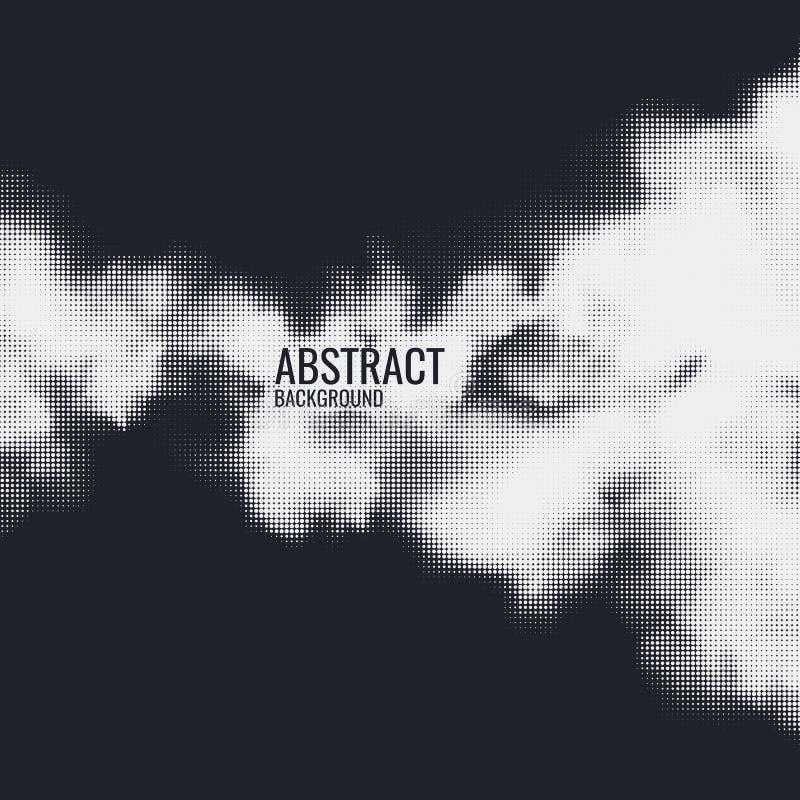 Monochromatyczny drukowy raster, abstrakcjonistyczny wektorowy halftone t?o Czarny i bia?y tekstura kropki royalty ilustracja