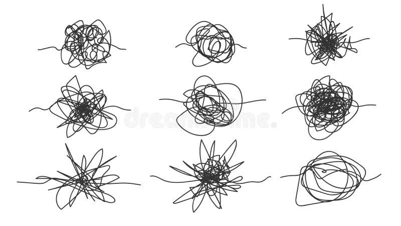 Monochromatyczny Freehand Rysujący bazgraniny nakreślenia Ustalony wektor ilustracja wektor