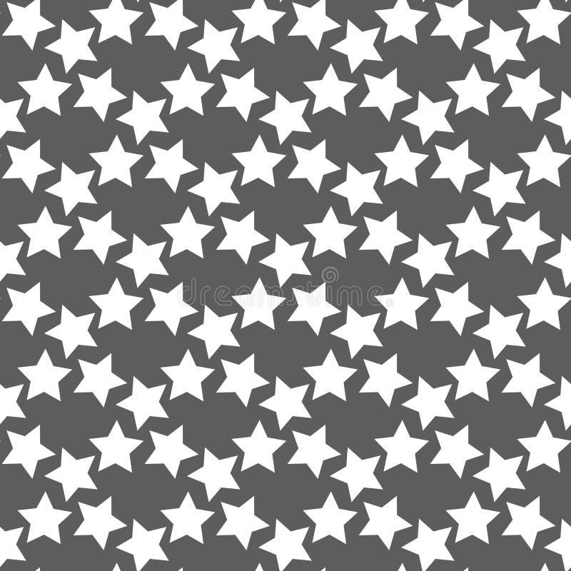 Monochromatyczny geometryczny bezszwowy wektoru wzór z gwiazdami ilustracja wektor