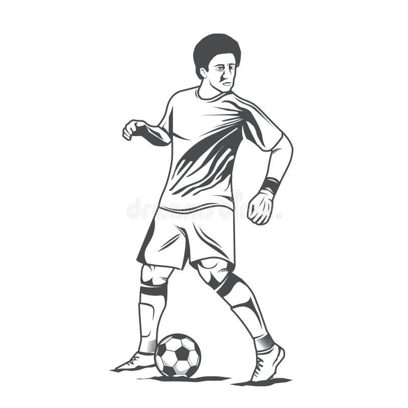 Monochromatyczny gracz piłki nożnej ilustracji