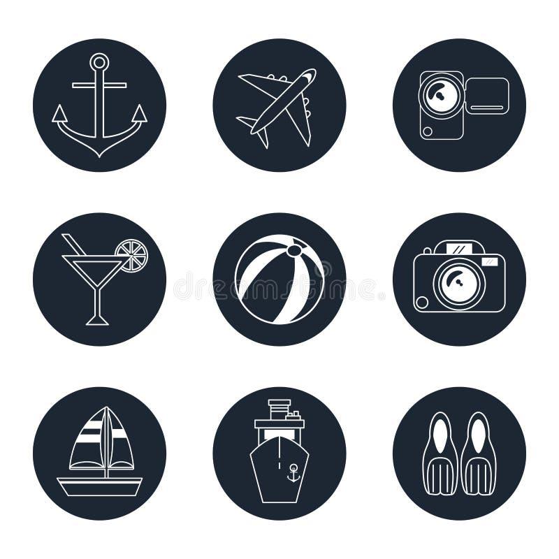 Monochromatyczny ikony podróży set w round ramach ilustracji
