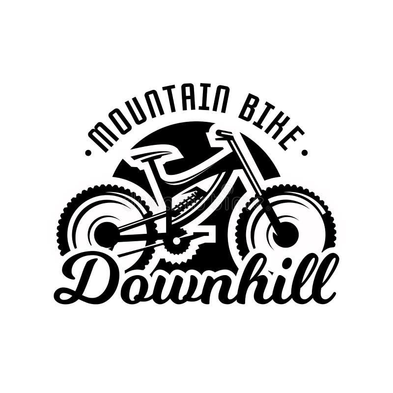 Monochromatyczny logo, rower górski Zjazdowy, freeride, krańcowy sport również zwrócić corel ilustracji wektora ilustracji