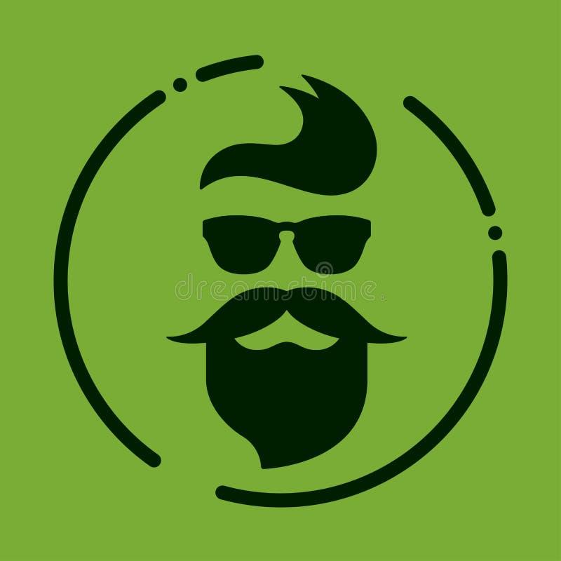 Monochromatyczny modniś z brodą, szkła, ostrzyżenie, wąsy Silh ilustracji