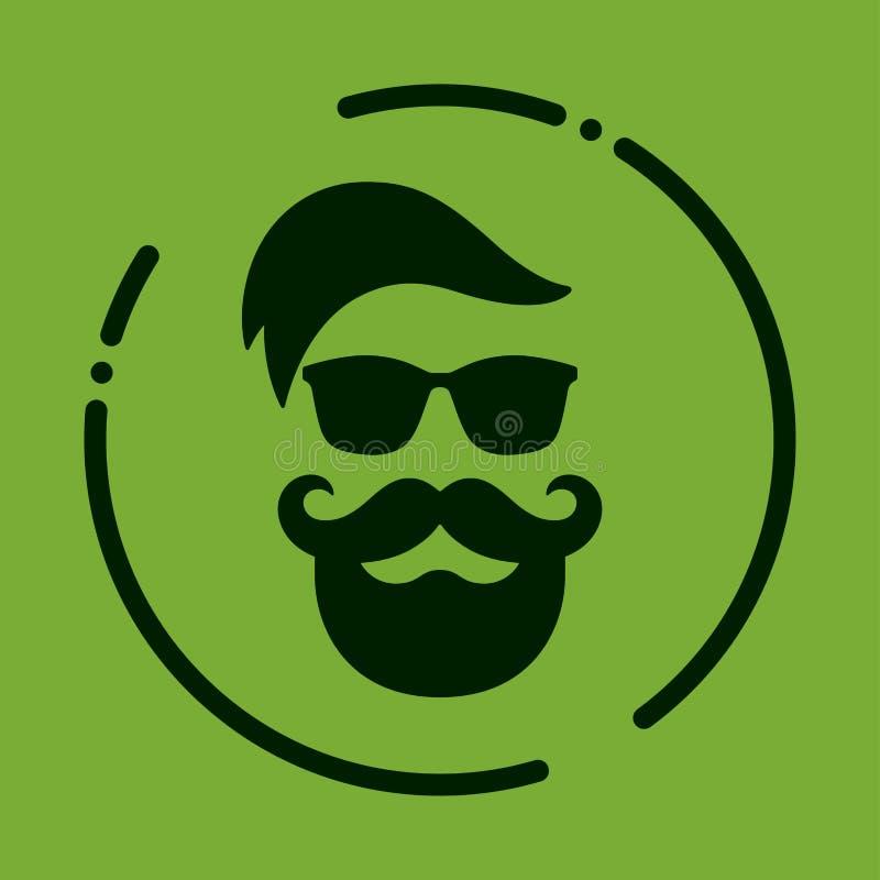 Monochromatyczny modniś z brodą, szkła, ostrzyżenie, wąsy Silh royalty ilustracja