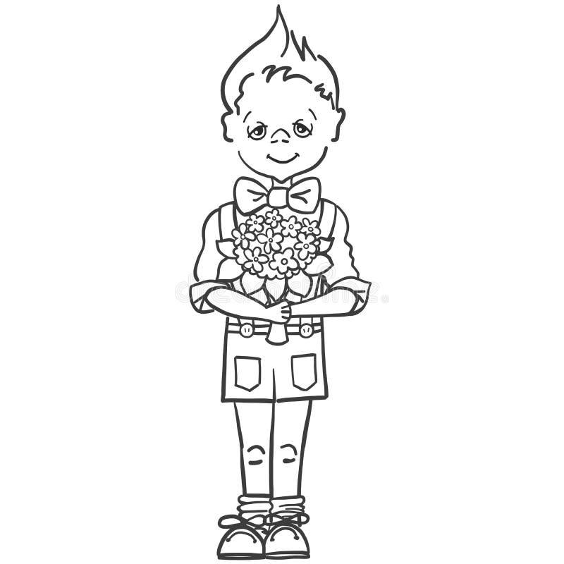 Monochromatyczny obrazek chłopiec która chce dawać bukietowi kwiaty jego nauczyciel przy szkołą, mama, dziewczyna troszkę royalty ilustracja