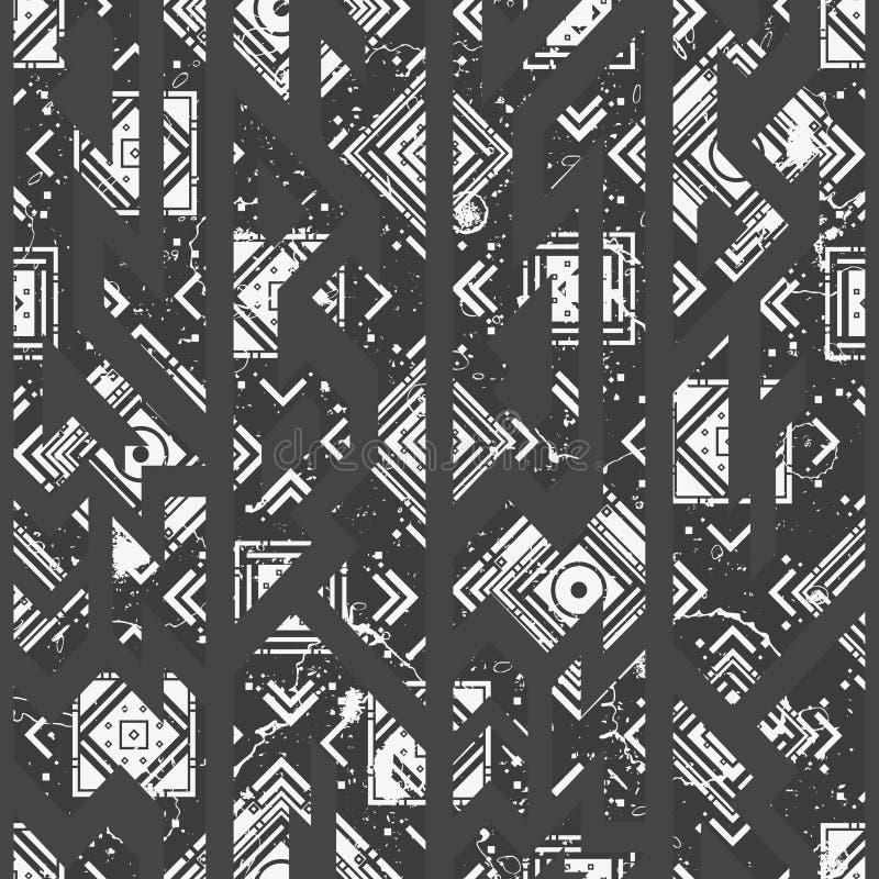 Monochromatyczny plemienny bezszwowy wzór ilustracji
