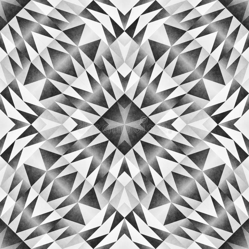 Monochromatyczny plemienny bezszwowy wzór Aztek sztuki Stylowy Abstrakcjonistyczny Geometryczny druk ilustracji