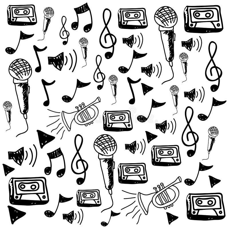 monochromatyczny ręka rysunku wzór muzyczne ikony ilustracja wektor