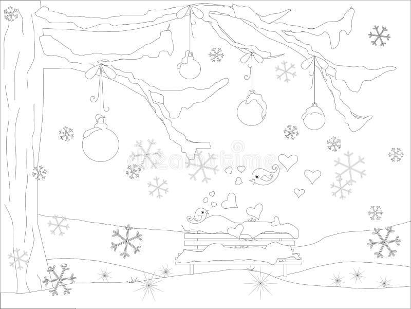 Monochromatyczny romantyczny tło z choinką, spada płatki śniegu, lovebirds, piłki, ławka w śniegu royalty ilustracja