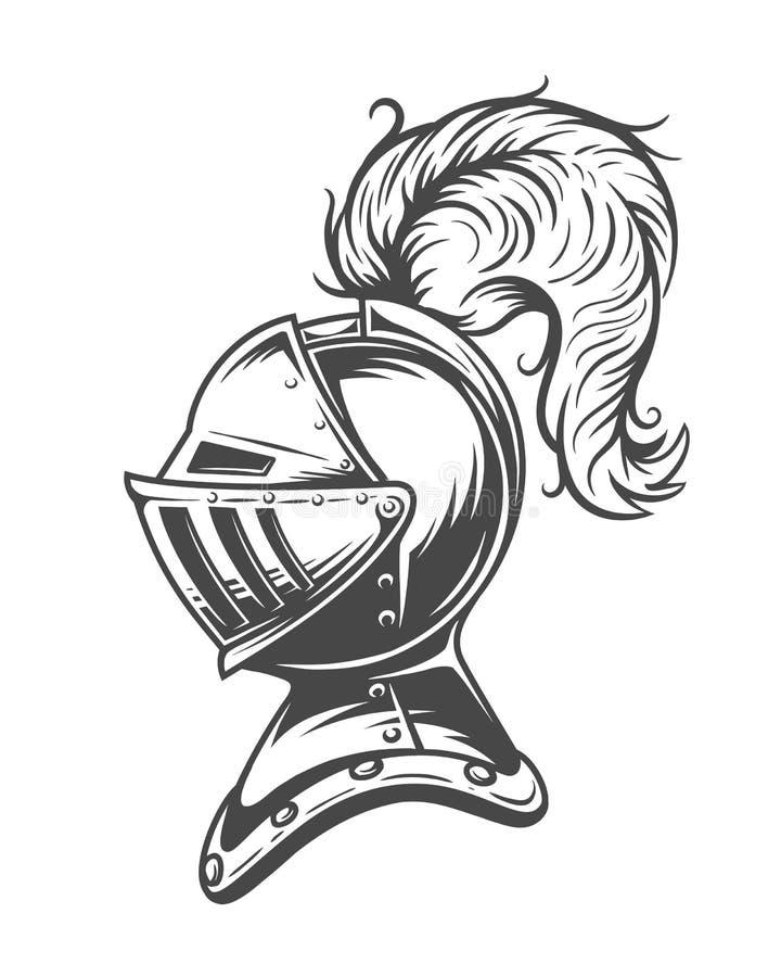 Monochromatyczny rycerza hełma opancerzenie ilustracji