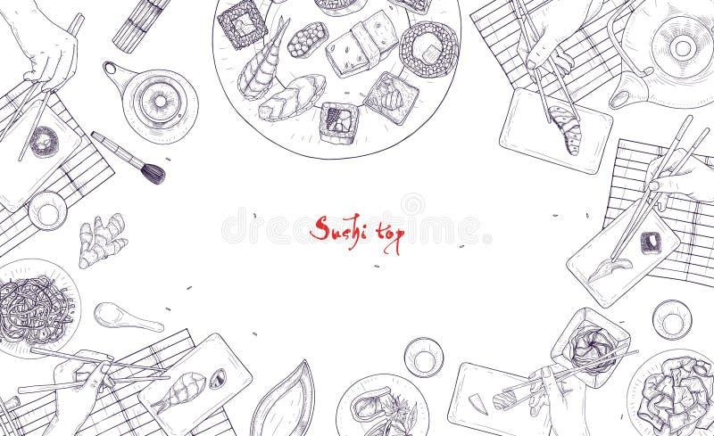 Monochromatyczny sztandaru szablon z stołowy pełnym Japoński jedzenie i ręki trzyma suszi, sashimi i rolki z chopsticks, ilustracji