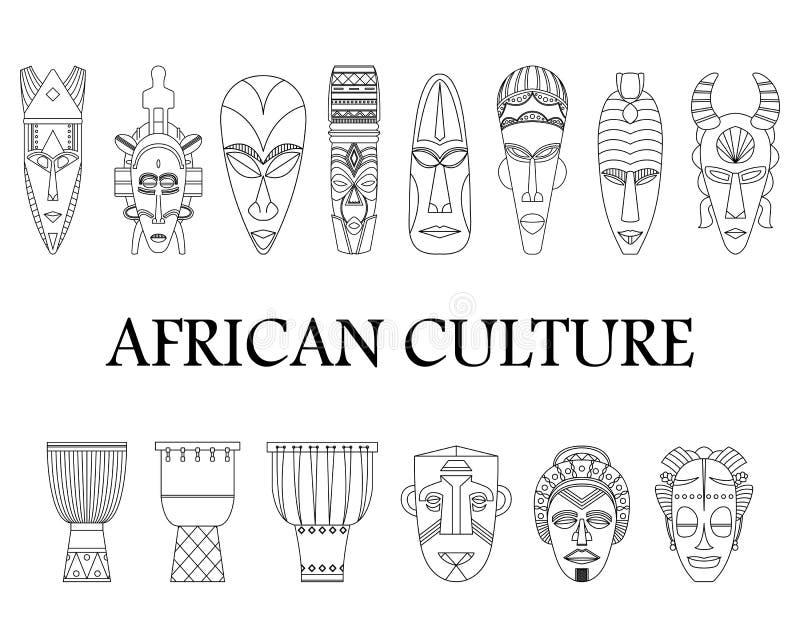 Monochromatyczny ustawiający 14 Afrykańskiego bębenu w liniach i maski ilustracja wektor
