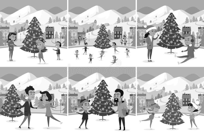 Monochromatyczny Ustawiający Szczęśliwi ludzie jazda na łyżwach na lodowisku royalty ilustracja
