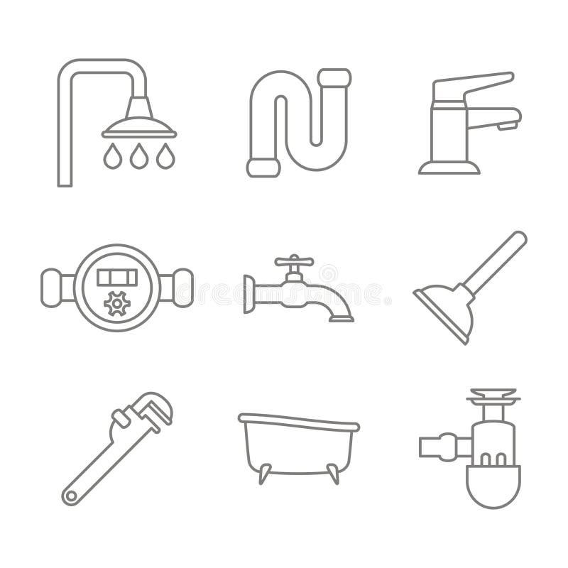 monochromatyczny ustawiający z kreskowymi instalacj wodnokanalizacyjnych ikonami royalty ilustracja