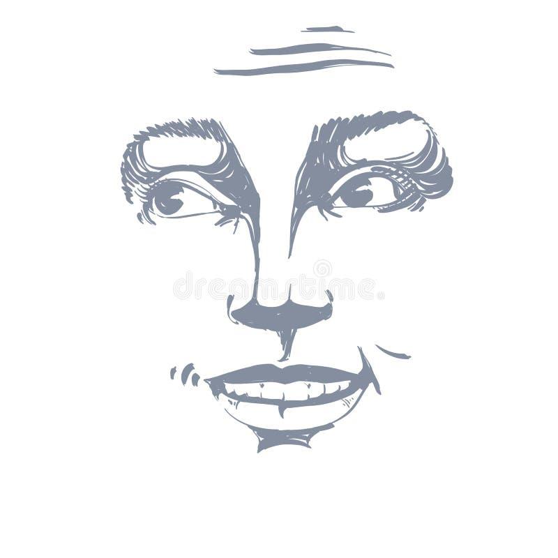 Monochromatyczny wektorowy pociągany ręcznie wizerunek, naganna młoda kobieta blA ilustracja wektor