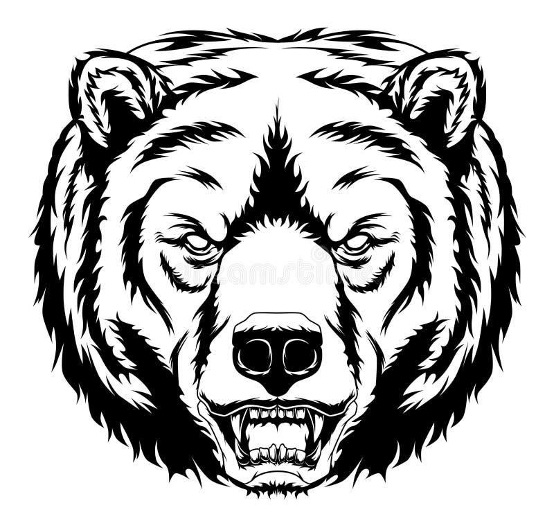 Monochromatyczny złość niedźwiedź ilustracja wektor