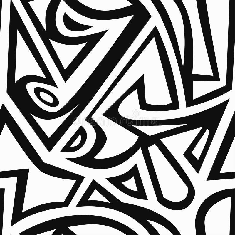 Monochromatycznych graffiti bezszwowy wzór royalty ilustracja