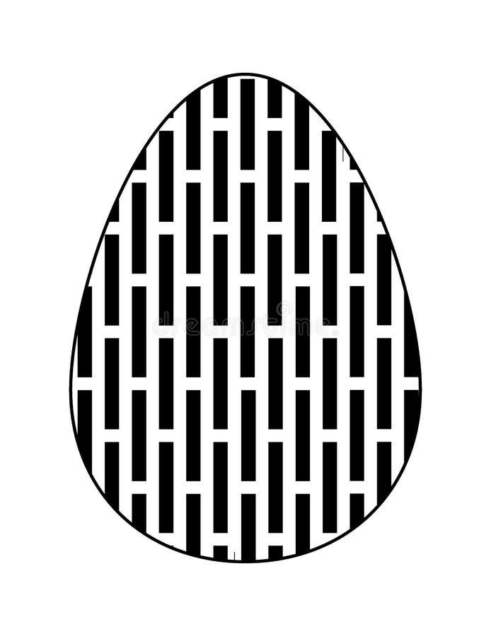 Monochrome плоский значок пасхального яйца с геометрической картиной на белой предпосылке вектор иллюстрация штока
