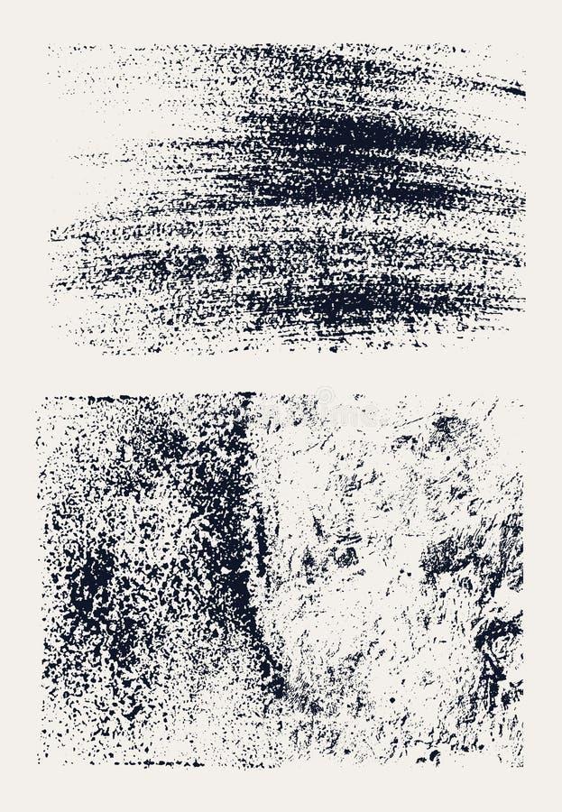 Monochrome абстрактные текстуры grunge вектора Комплект нарисованных рукой ходов и пятен щетки иллюстрация вектора