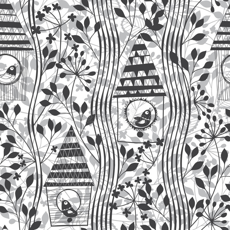 Monochrome безшовная картина с птицами, birdhouses и цвести бесплатная иллюстрация