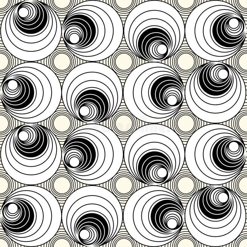 Monochrome безшовная предпосылка с кругом формирует в стиле op-искусства, простых вращая геометрических формах иллюстрация вектора
