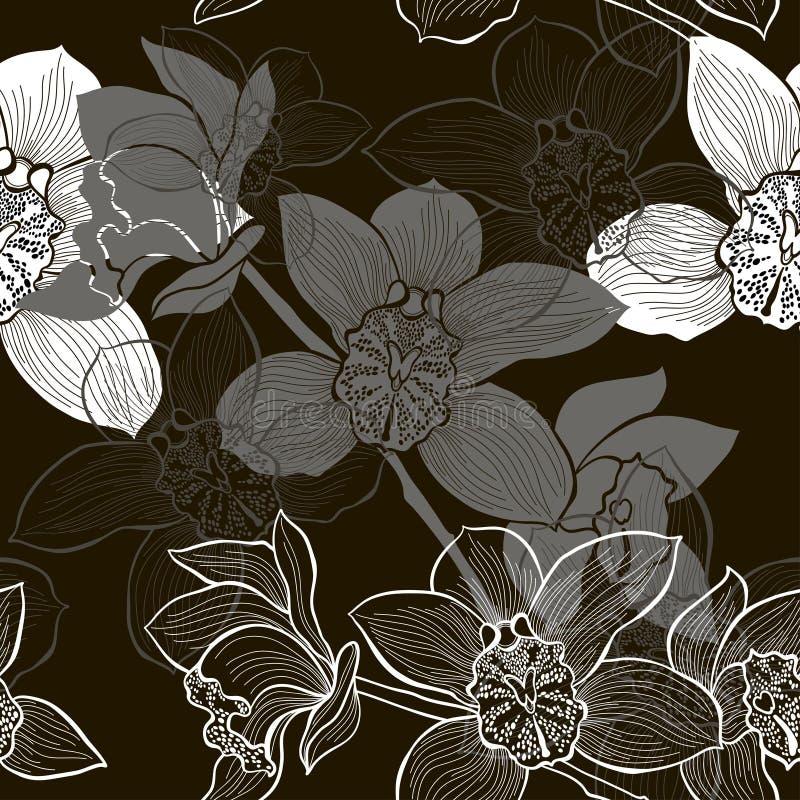 Download Monochrome безшовная предпосылка с орхидеями Иллюстрация штока - иллюстрации насчитывающей цветок, черный: 37926062