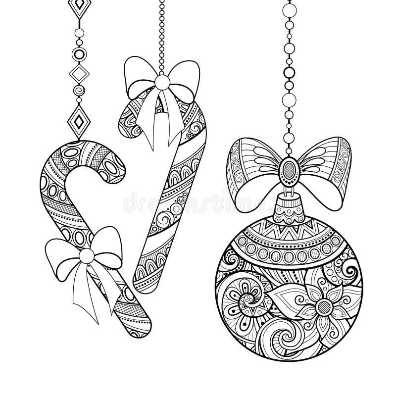 Monochrome богато украшенные украшения рождества, счастливый Новый Год иллюстрация вектора