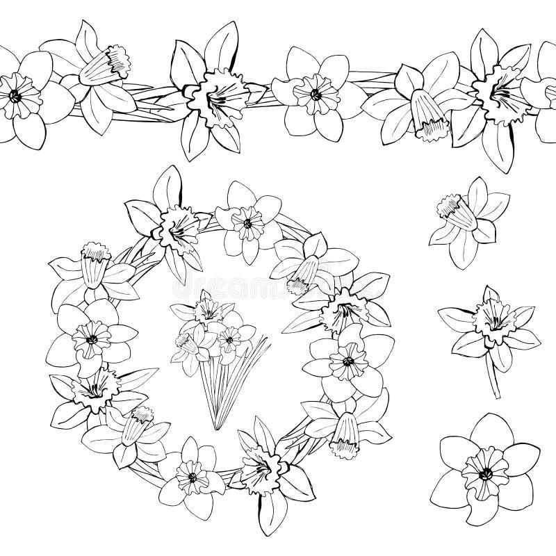 Monochrome венок, бесконечная щетка, бутоны и букет цветков весны с листьями изолированными на белой предпосылке Эскиз нарисованн иллюстрация штока