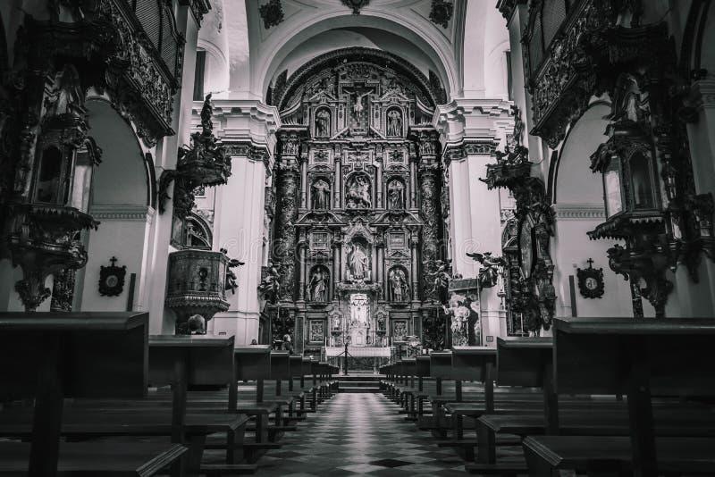 Monochrome взгляд внутри церков стоковое фото rf