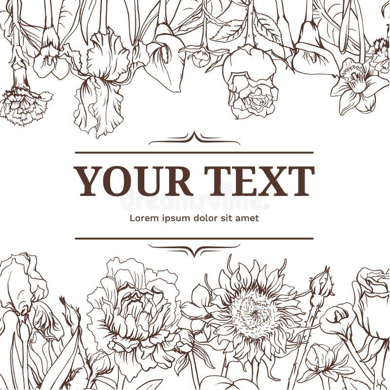 Monochrome винтажная флористическая предпосылка бесплатная иллюстрация