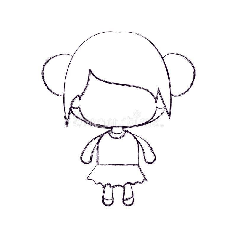 Monochrome запачканный силуэт безликой маленькой девочки с собранными волосами плюшки иллюстрация вектора