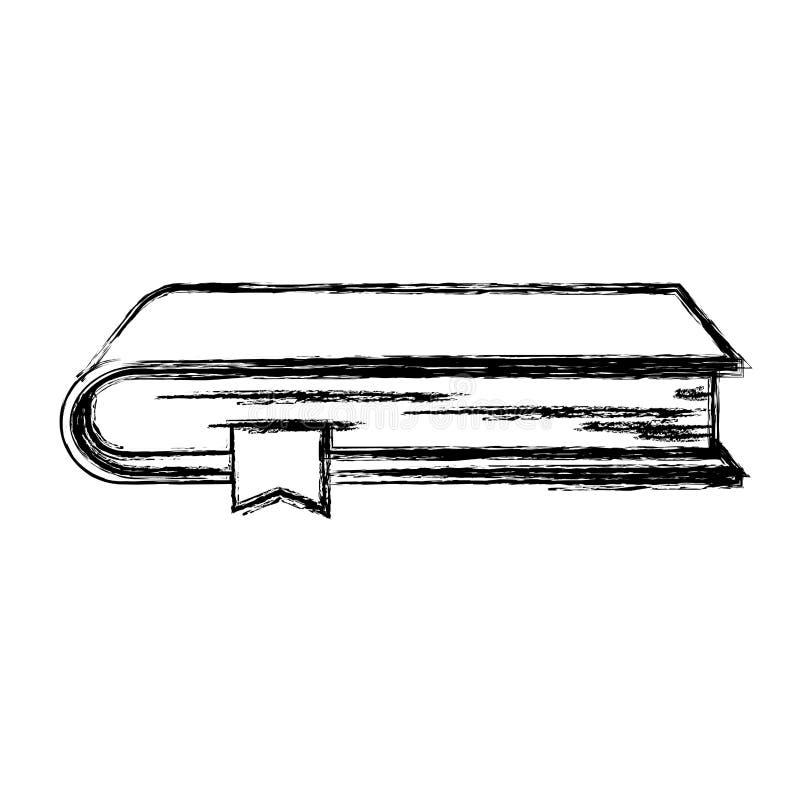 Monochrome запачканный силуэт книги с закладкой иллюстрация вектора