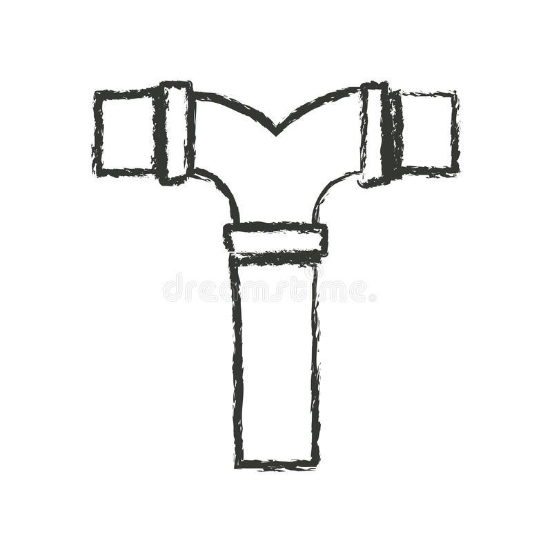 Monochrome запачканный силуэт соединения водоотводной трубы t иллюстрация вектора