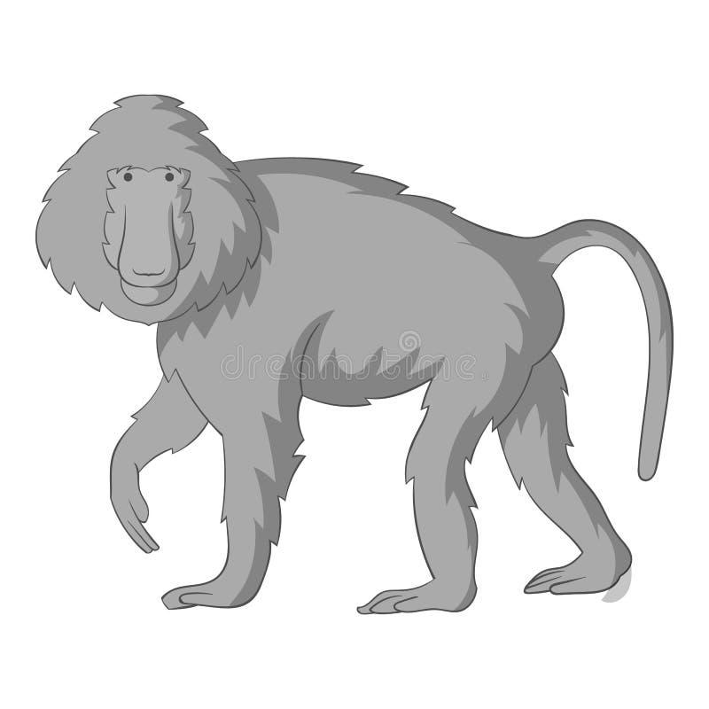 Monochrome значка павианов бесплатная иллюстрация