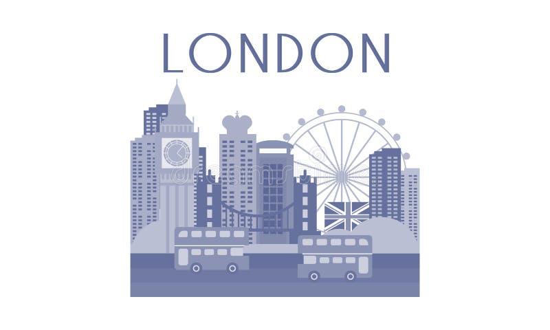 Monochrome иллюстрация вектора городского пейзажа Лондона Архитектура, автобусы и известные ориентиры иллюстрация штока