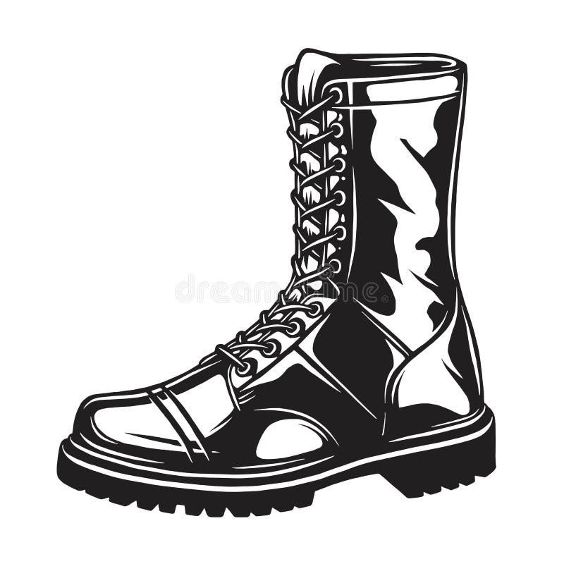 Monochrome иллюстрация воинского ботинка иллюстрация вектора