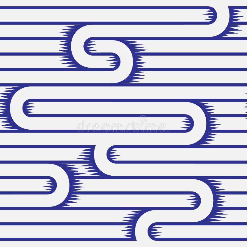 Monochrome линия картина текстуры белая и голубая безшовная вектор иллюстрация штока