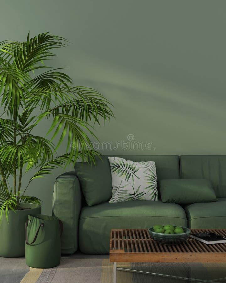 Monochrome интерьер с зеленой софой иллюстрация вектора