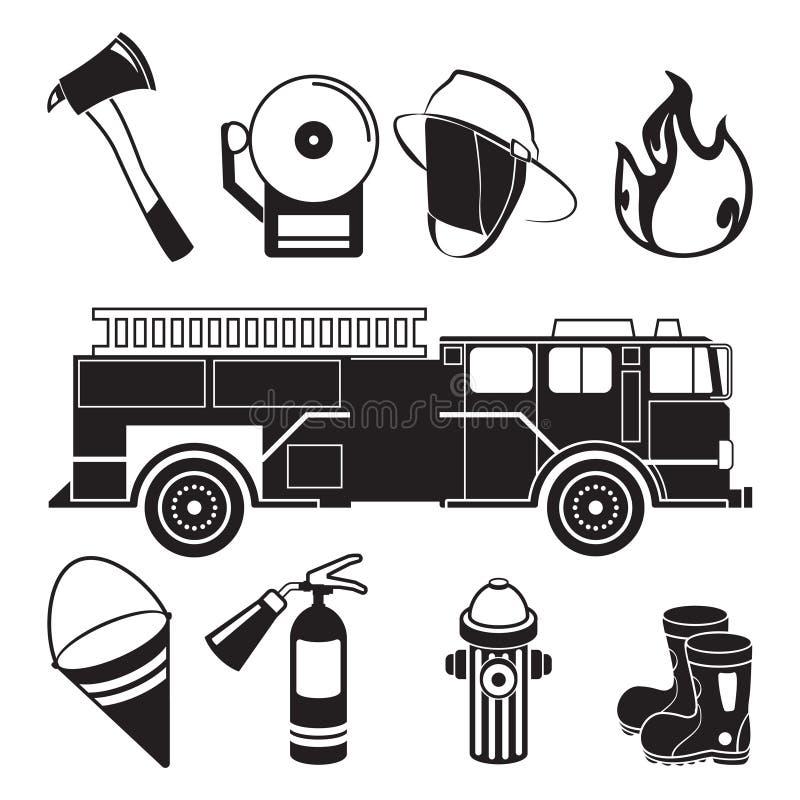 Monochrome иллюстрации инструментов пожарного в отделе пожарного депо бесплатная иллюстрация