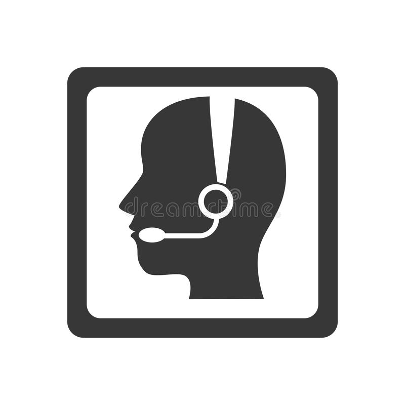 Monochrome квадратная кнопка с оператором центра телефонного обслуживания с телефонной трубкой иллюстрация штока