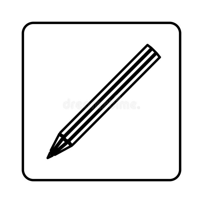 monochrome квадрат контура с значком карандаша иллюстрация вектора