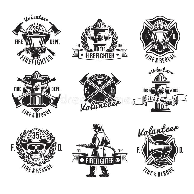 Monochrome комплект ярлыков Firefighting иллюстрация штока