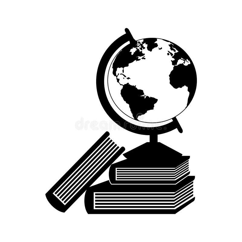 Monochrome контур с картой мира с книгами иллюстрация штока