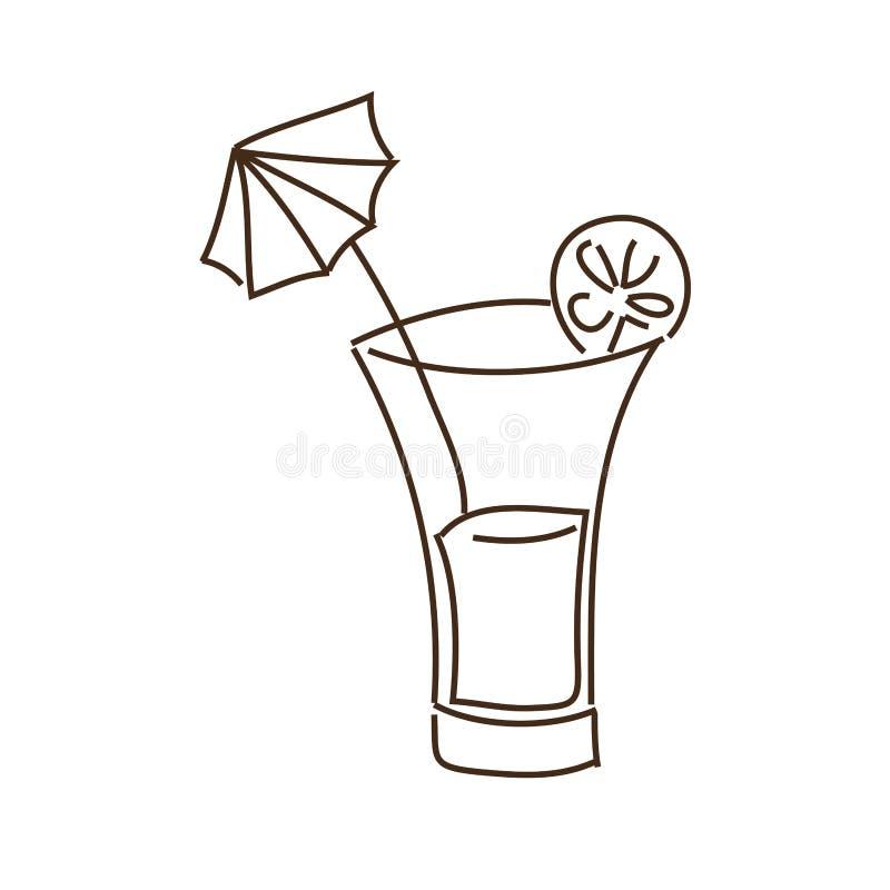 Monochrome контур с питьем коктеиля с куском лимона и декоративным зонтиком иллюстрация штока
