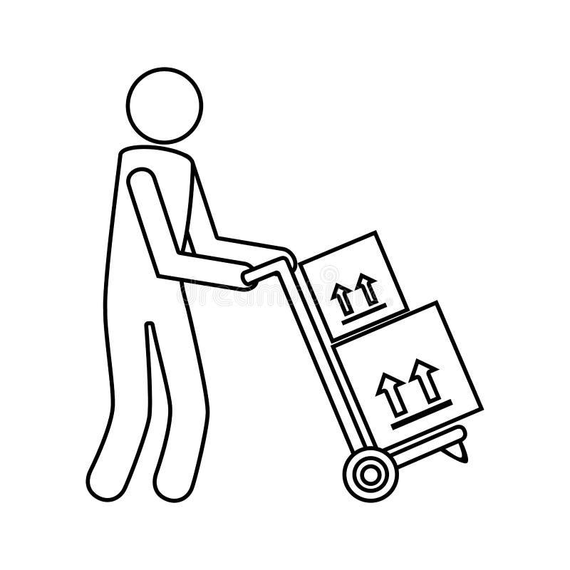 Monochrome контур с посыльным и ручной тележкой с коробками бесплатная иллюстрация