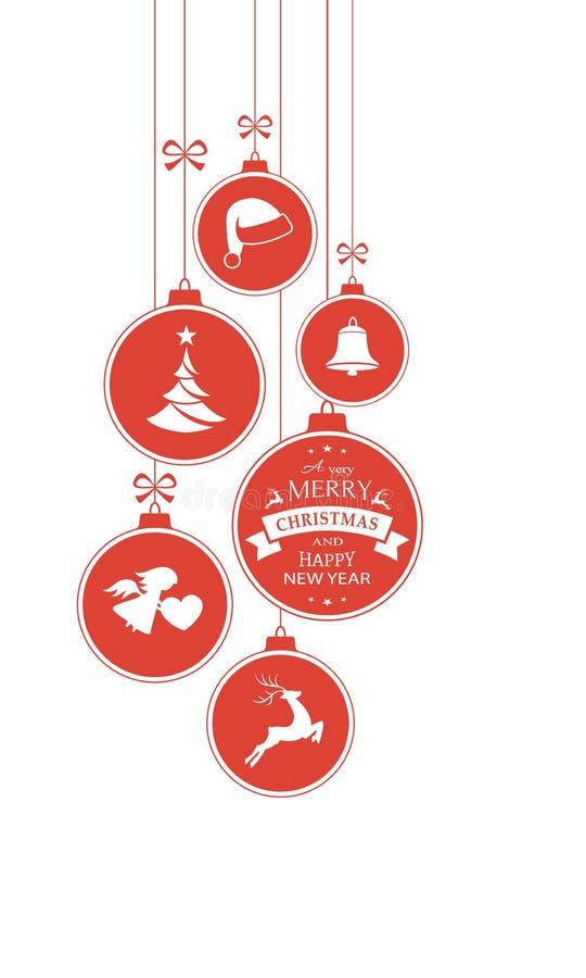 Monochrome красные безделушки рождества на белизне иллюстрация штока