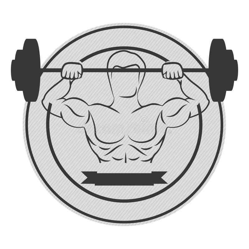 monochrome круговая граница при человек мышцы поднимая диск утяжеляет и ярлык бесплатная иллюстрация