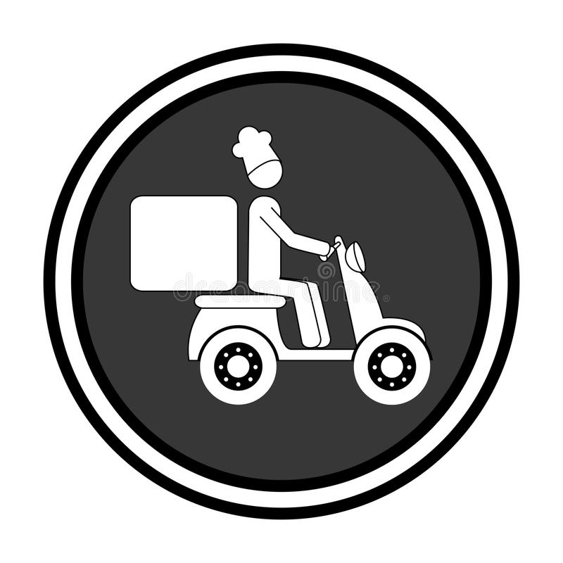 Monochrome круговая эмблема с работником доставляющим покупки на дом в самокате иллюстрация вектора