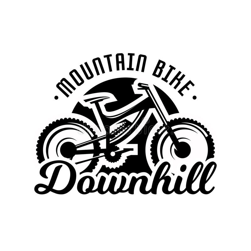 Monochrome логотип, горный велосипед Покатый, freeride, весьма спорт также вектор иллюстрации притяжки corel иллюстрация штока